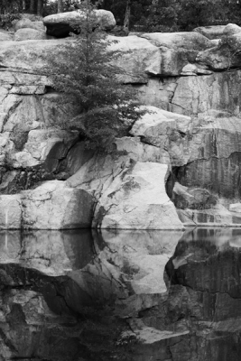 Granite Cliffand Reflection At Elephant Rocks