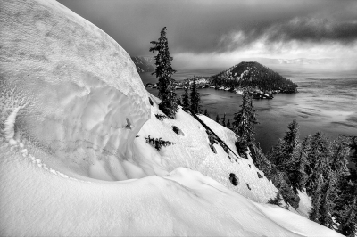 Wizard Island In Winter, Crater Lake
