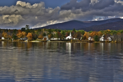 Melvin Village New Hampshire In The Fall With Ossipee Mountain Background
