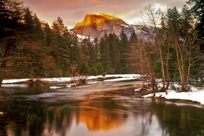 Winter Sunset On Half Dome & The Merced River Yosemite