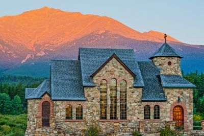 St. Malo Church And Mt. Meeker At Sunrise