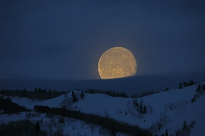 Super Moon Over The Wasatch Mountains