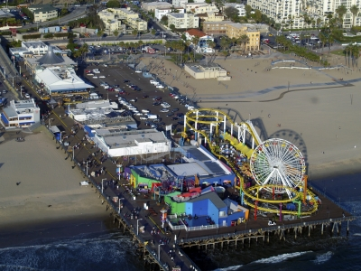 Santa Monica Pier From Helicopter