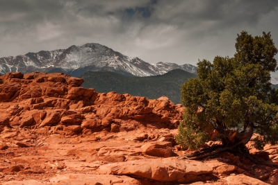 Pikes Peak From High In Garden Of The Gods