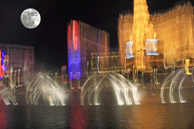 Bellagio Falls Abstract At Night