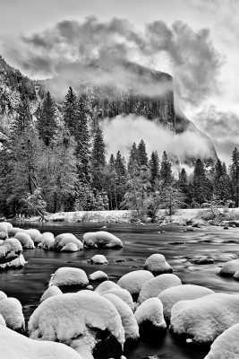 El Capitan And The Merced, Winter, Yosemite National Park