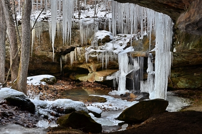 Icy Waterfall At Pennyrile Forest State Park