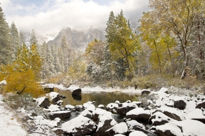 Yosemite Merced River In Snow