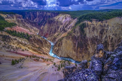 Backlighting At The Grand Canyon Of The Yellowstone
