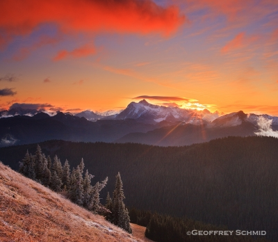 First Light, Shuksan Ridgeline From The Divide