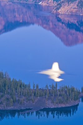Moon Reflection In Crater Lake