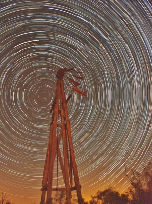 Star Trails And Windmill