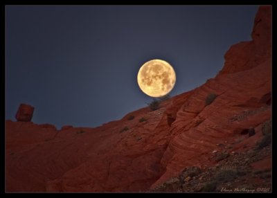 Full Moon Rising In Valley Of Fire, Nevada