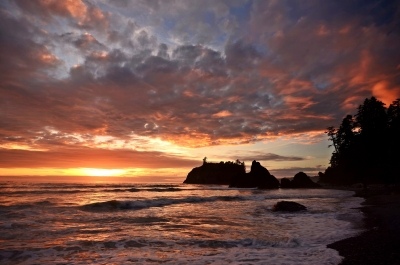 Ruby Beach High Tide Sunset