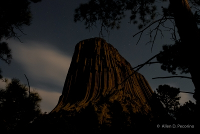 Devils Tower Illuminated By A Full Moon