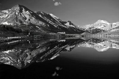 Montana, Glacier National Park, Many Glaciers, Swiftcurrent Lake, Reflection, Landscape, Black And White