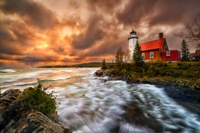 Stormy Sunrise At Eagle Harbor Lighthouse