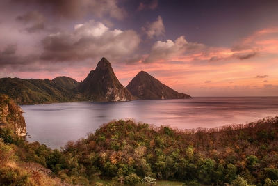 Pitons At Sunset