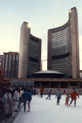 Toronto City Hall And Ice Skating At Nathan Phillips Square
