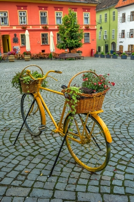 Old Bike In The Medieval Town Of Sighisoara