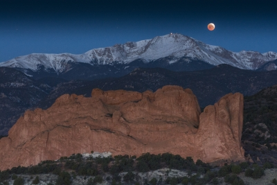 Lunar Eclipse Setting Over Pikes Peak