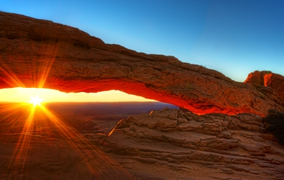 The Famous Mesa Arch  As The Sun Peeked Over The Horizon