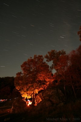 Star Trails And A Glowing Horseshoe Canyon Campsite