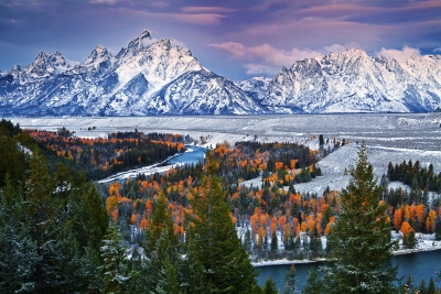 Wyoming, Grand Teton National Park, Snake River, Dawn, Fall Colors