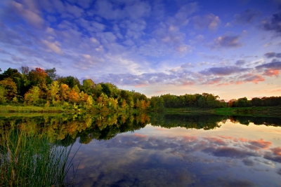 Ohio, Cuyahoga Valley National Park, Indigo Lake, Fall Colors, Reflection, Sunset