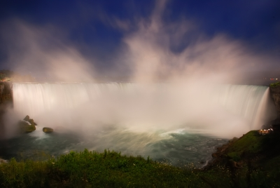 The Horseshoe Falls In Blue And White