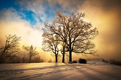 Fire And Ice – Winter Sunset Landscape