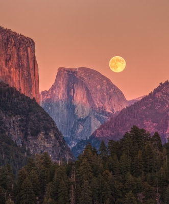 Full Moon Rise Behind Half Dome