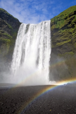 Skogafoss Waterfall With Rainbows