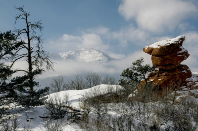 Snow-capped Pikes Peak As The Clouds Dissapate