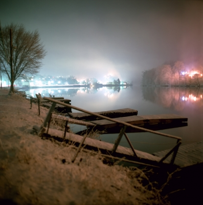 Snowy Dock At Night