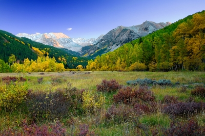 Colorado, Castle, Peak, Foliage, Sunset