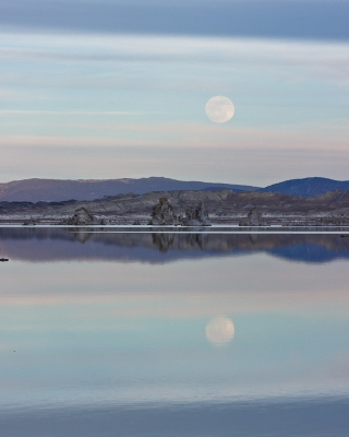 Layered Moon Rise Over Mono Lake