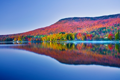 Vermont, Stowe, Lake Elmore, Foliage, Fall Colors, Landscape, Dawn