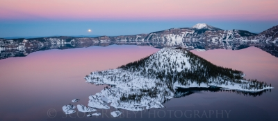 Moon Rises Over Wizard Island, Crater Lake Ntl Park, Oregon