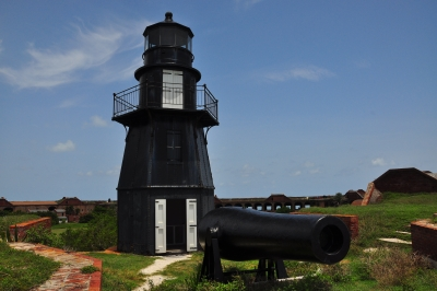 Light House And Cannon At Fort Jefferson