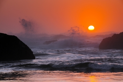 Sunset And Surf At Seal Rock