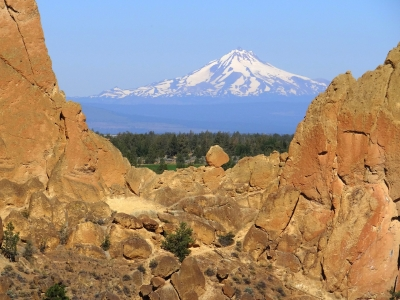 Smith Rock's View Of Mt Hood