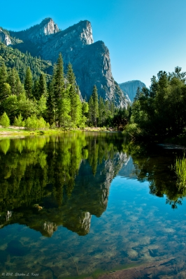 Three Brothers Reflected In Merced River
