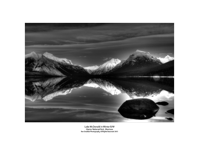 Lake Mcdonald In Winter B/w