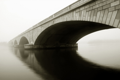 Arlington Memorial Bridge In The Fog