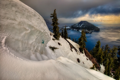 Wizard Island, Crater Lake, Winter