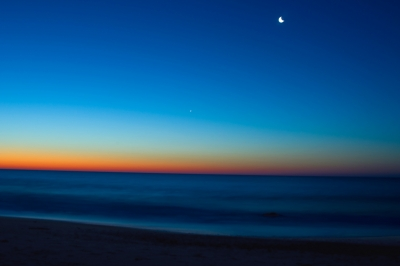 Blue Dawn With Moon