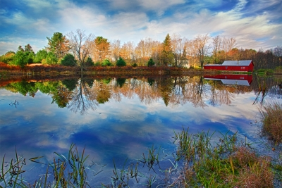 Pennsylvania, Farmland, Pond, Mill, Fall Colors, Reflection, Hdr