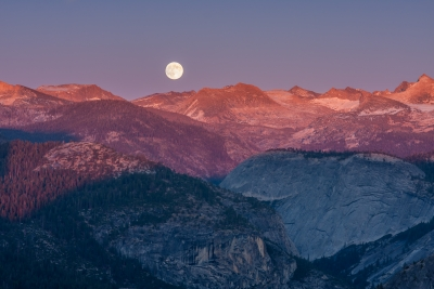 Autumn Moonrise At Sunset