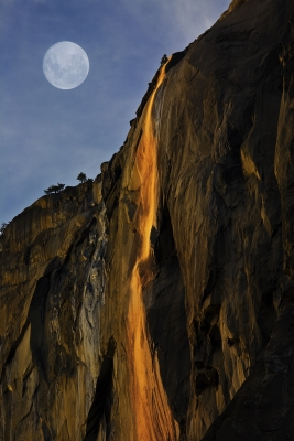 Full Moon Over Horase Tail Falls At Last Light, Yosemite